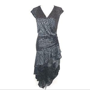Cynthia Steffe Silver Ruffle Asymmetrical Dress 4